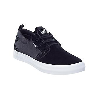 Supra Black-Black Denim-White Flow Shoe
