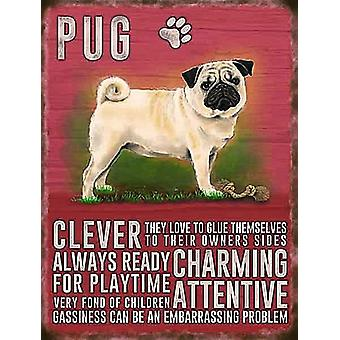 Pug Metal Sign (200Mm X 150Mm Small)