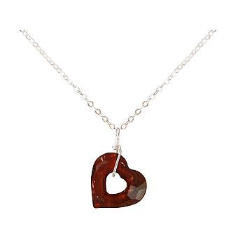 Gemshine - Damen - Halskette - Anhänger - 925 Silber - Herz - Open Heart - Rot - MADE WITH SWAROVSKI ELEMENTS® - 45 cm