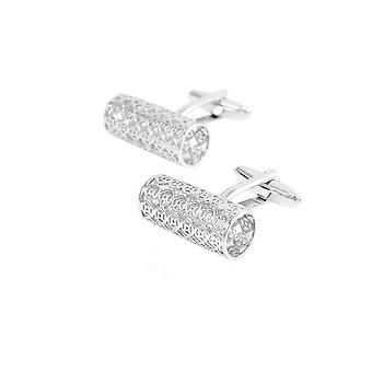 Smart Silver Rimmed Ridge Barrel Cufflinks Round Oval Business Wedding Shirt