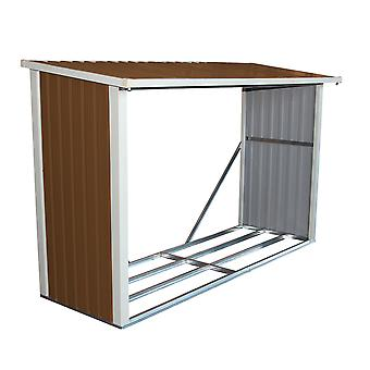 Charles Bentley Large Metal Log Wood Store Shed - H148 x L242 x W89 (cm) (8 x 3 Ft)