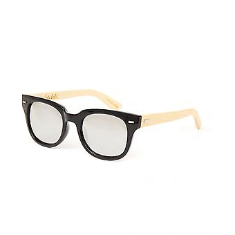 Colin Leslie Unisex Cat Eye Sunglasses Black Frame Bamboo Arms With Silver Mirror Lens
