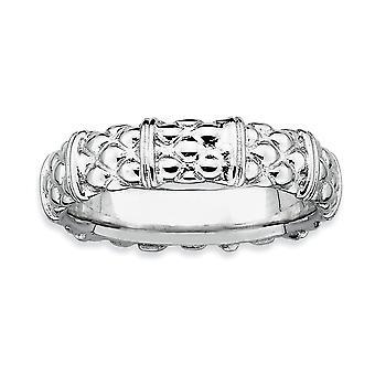 Sterling Silber polierte gemusterten rhodinierten stapelbar Ausdrücke Rhodium Ring - Ringgröße: 5 bis 10