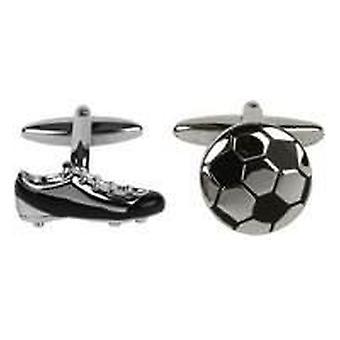 David Van Hagen voetbal en Boot Manchetknopen - zilver/zwart