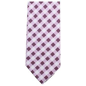 Knightsbridge Neckwear Checked Tie - Pink/Purple/White