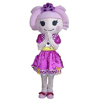 mascot girl with hair and a dress SPOTSOUND purple