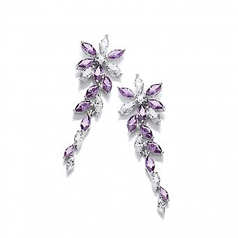 Cavendish francese argento e ametista CZ Orecchini floreali