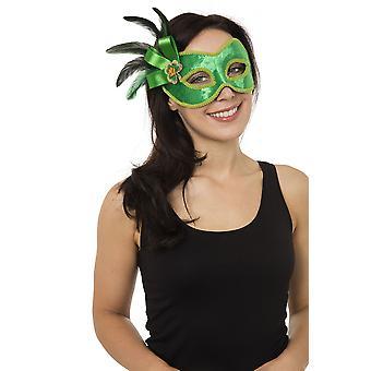 Grün mit Seite Dekoration (Brillengestell) Augenmaske