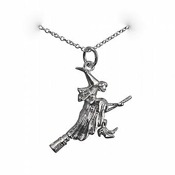 Silver 15x25mm solid Witch on a Broomstick Pendant with a rolo Chain 14 inches Only Suitable for Children
