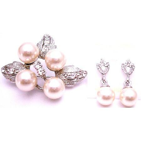 Christamas Gift Earrings Brooch Combo Set Flower Pearl Diamante Brooch