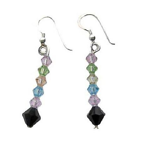 Multi Color Swarovski Crystals Earrings Sterling Silver Earrings