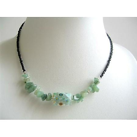Inexpensive Green Nugget & Stone Chip Simulated Millefiori Necklace