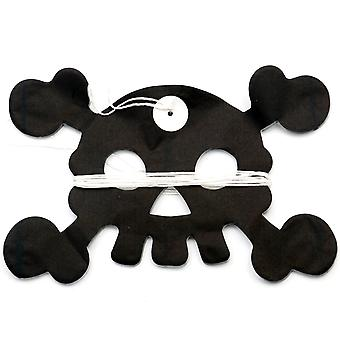 TRIXES Spooky Scary Halloween Black & White Paper Skull & Crossbones Banner Decoration