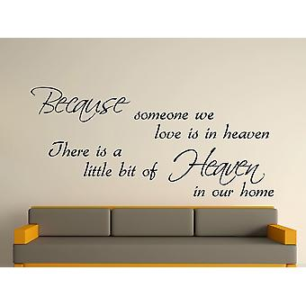 Because Someone Wall Art Sticker - Black
