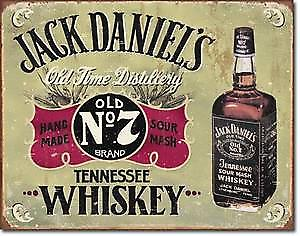 Jack Daniels Tennessee Whiskey weathered metal sign (ls)