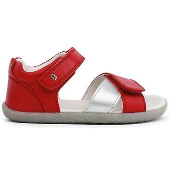 Passo Bobux garotas Sail sandálias prata vermelha