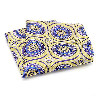 Yellow purple & blue patterned designer pocket square