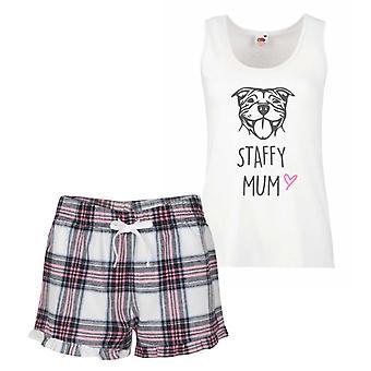 Staffy Mum Pink Tartan Pyjamas