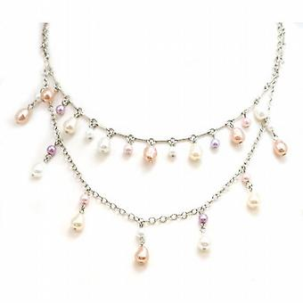 Theory London Double Row Coloured Pearl Necklace