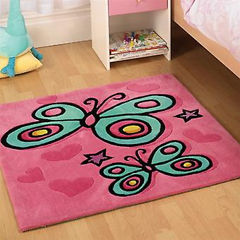 Flair Kiddy Play Butterfly Pink Childrens Rug 90x90cm