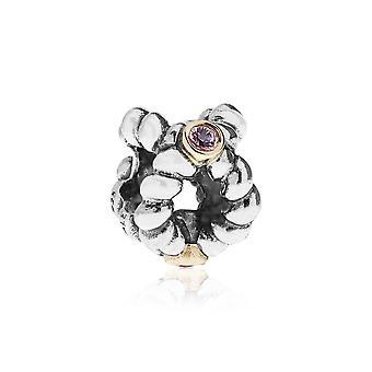 Pandora Binding Beauty Silver 14k Gold & Pink Sapphire Charm 790410PSA