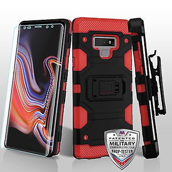 MYBAT Black/Red 3-in-1 Storm Tank Hybrid Case Combo (w/ Holster)(with Full-coverage Screen Protector) for Galaxy Note 9