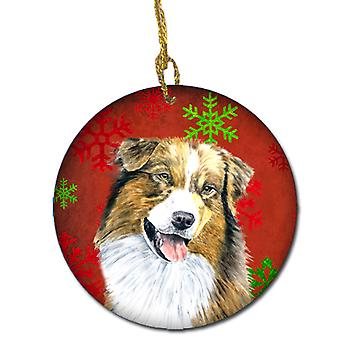 Australian Shepherd Red Snowflakes Holiday Christmas Ceramic Ornament SC9437