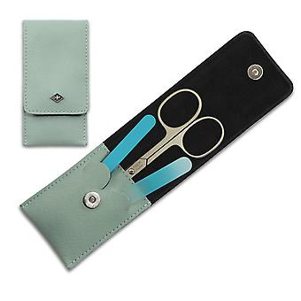 Premium Solingen 3-Piece Manicure Set in Mint Green Leather Case
