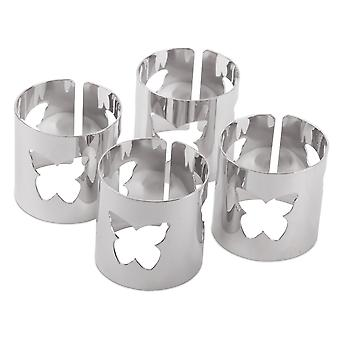Set of 4 Contemporary Silver Metal Butterfly Cut-out Napkin Rings