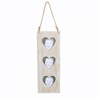 Hanging Triple Heart Wooden Photoframe with Rope Hanger