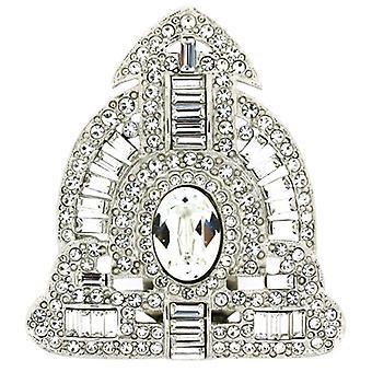 Kenneth Jay Lane argento & cristallo Deco sciarpa Pin