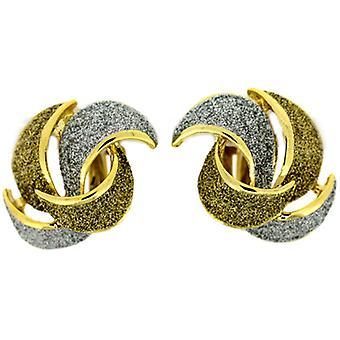 Clip auf Ohrringe Store Silber und Gold Glitter Gold plattiert Blütenblatt-Clip auf Ohrringe