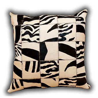 Rugs -Leather Patchwork Zebra Cushion