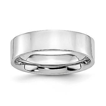 Kobalt-Chrom-flache Band Schlossdrücker poliert 6mm Bandring - Ring-Größe: 7 bis 13