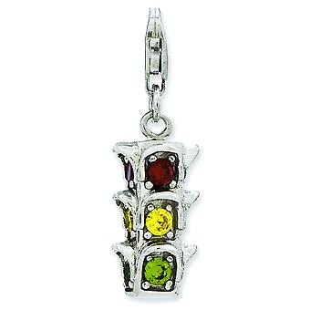 Sterling Silver Rhodium-plated Fancy Lobster Closure 3-d Cubic Zirconia Traffic Light With Lobster Clasp Charm