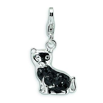 Sterling Silver Enameled CZ Cat With Lobster Clasp Charm - Measures 25x11mm