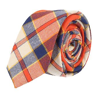Andrews & co. narrow tie Club tie Plaid Orange