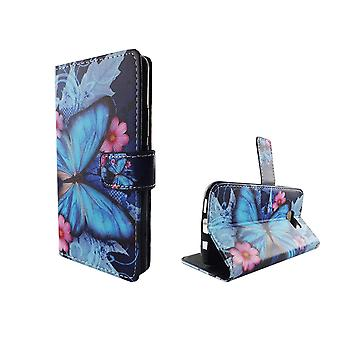Mobile phone case pouch for mobile Samsung Galaxy S7 blue butterfly