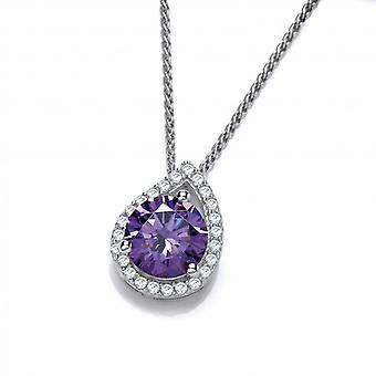 Cavendish French Silver and Amethyst Cubic Zirconia Teardrop Twist Pendant