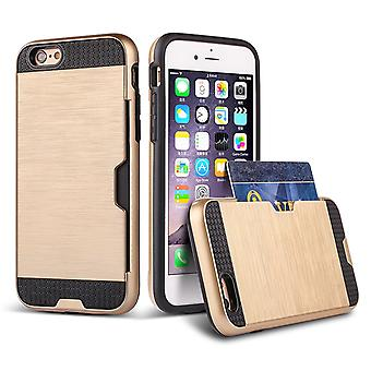 Shockproof card slot case + stylus for Apple iPhone 6 6S - Gold