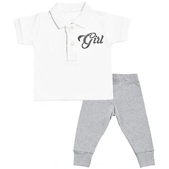 Verwöhntes faule Mädchen Design Baby Polo T-Shirt & Baby Jersey Hose Outfit-Set