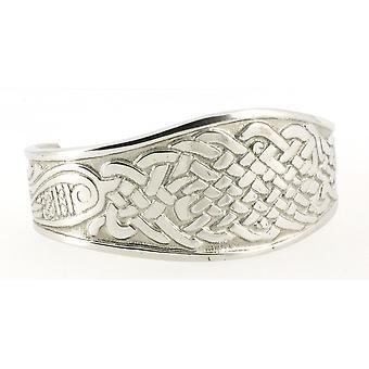 Handgemachte keltische Interlace Ewigkeit silbernen Glanz Zinn Manschette Armband (einstellbar)
