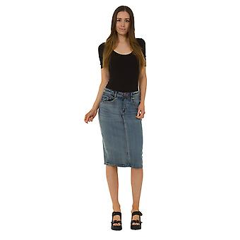 USKEES KAY Mid-length Denim Skirt - Midwash Denim Pencil Skirt with stretch