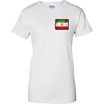 Iran Grunge Grunge Effect Flag - Ladies Chest Design T-Shirt