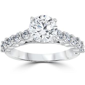 Anello di fidanzamento diamante 2 carati rotondo taglio Solitaire 14k White Gold migliorato
