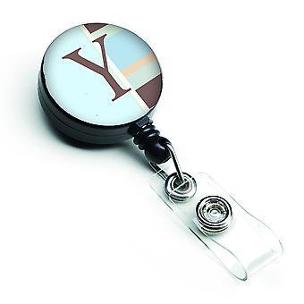 Letter Y Initial Monogram - Blue Stripes Retractable Badge Reel