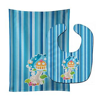 Carolines Treasures  BB6914STBU Fairy House Blue Stripes Baby Bib & Burp Cloth