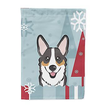 Winterurlaub Tricolor Corgi Flagge Leinwand Größe des Hauses