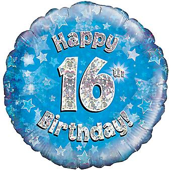 Oaktree 18 Inch Happy 16th Birthday Blue Holographic Balloon