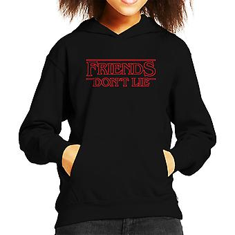 Friends Dont Lie Stranger Things Font Kid's Hooded Sweatshirt